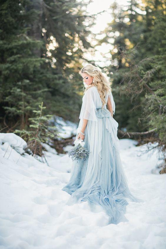Amazing Wedding On Snow Light Blue Is So