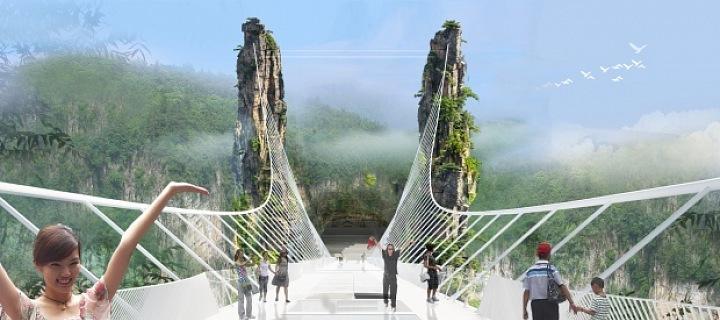 Nejdelší skleněný most v Číně
