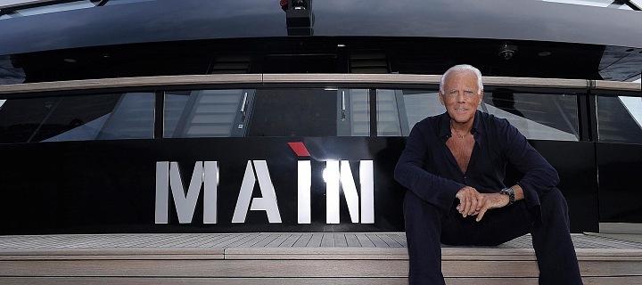 Giorgio Armani with his yacht Main