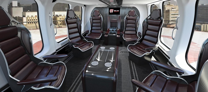Interiér luxusní helikoptéry