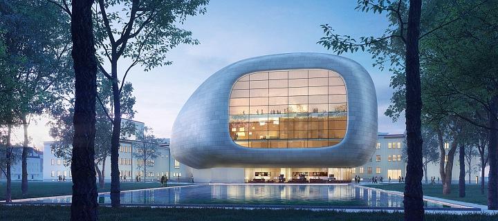 Pohled na koncertní budovu zvenčí