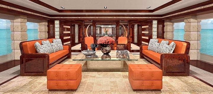 Interiér jachty v naprostém luxusu