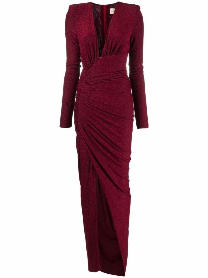 Vínové šaty s rozparkem