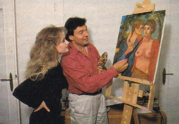 Foto z roku 1988, kdy ho navštívila německá zpěvačka Nicole.