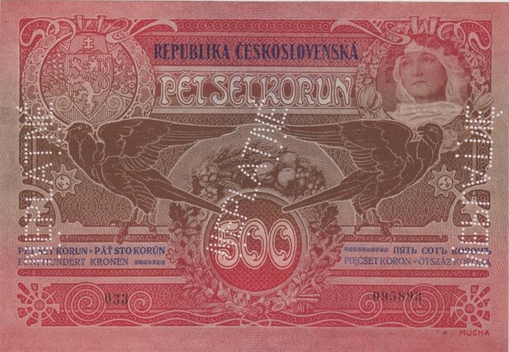 Do dražby jde i pětsetikorunová bankovka.