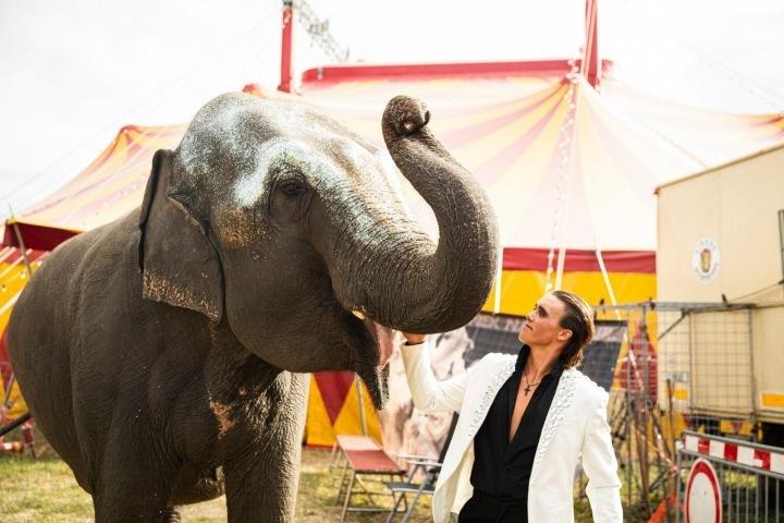 Italský cvičitel a jedna z jeho slonic.