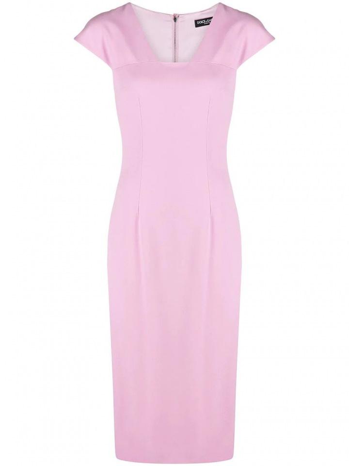 Růžové midi šaty Dolce & Gabbana