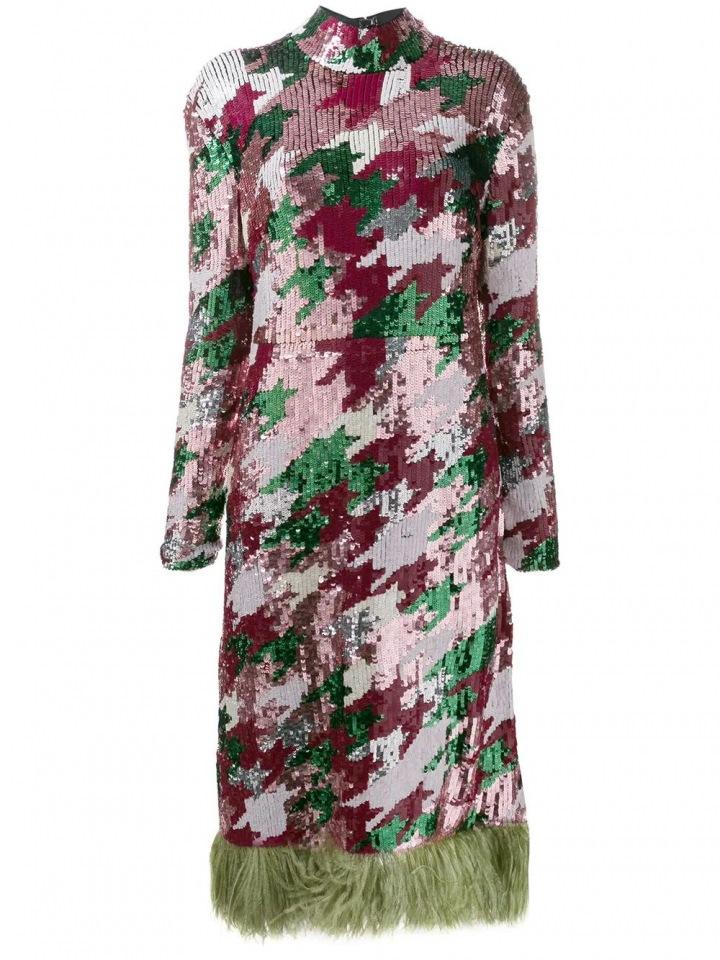 Barevné šaty La Doublej s flitry a peřím