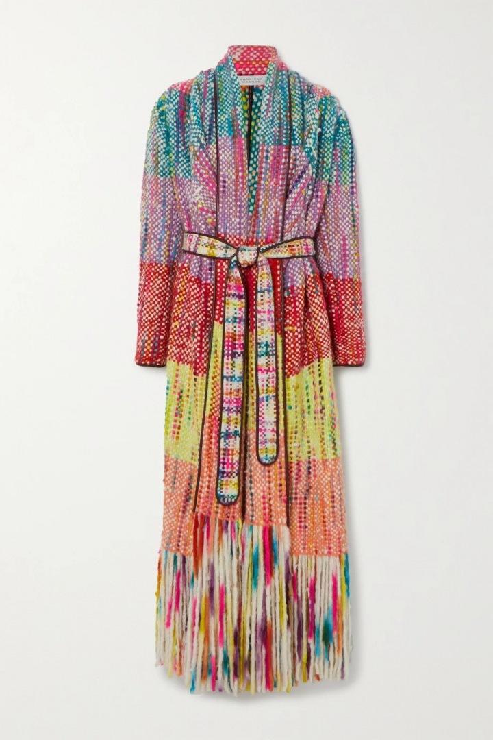 Barevný kabát s třásněmi Gabriela Hearst