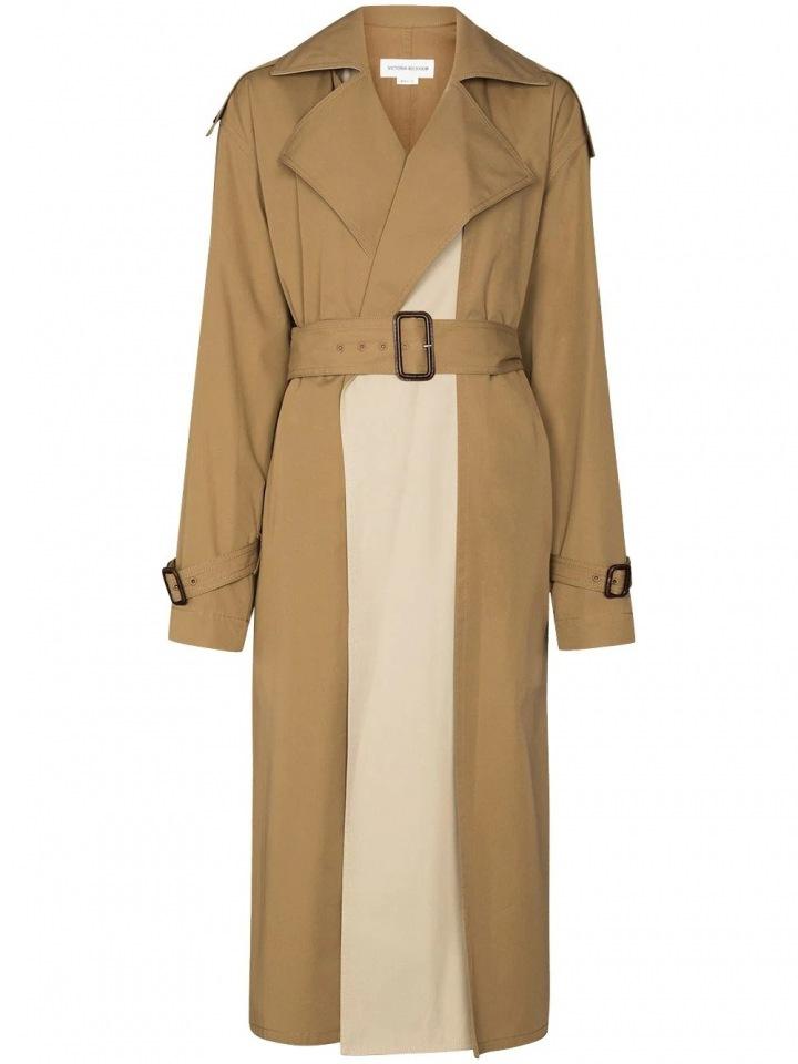Béžový kabát Victoria Beckham