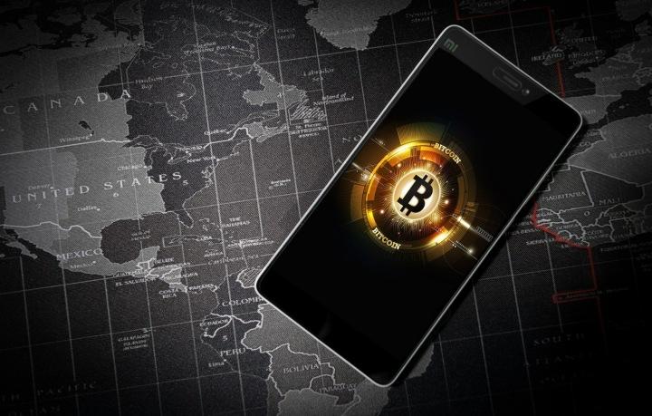 Bitcoin, mapa a telefon