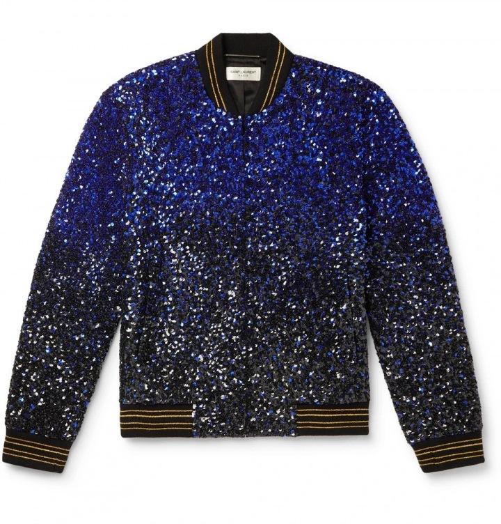 Modrá bunda Saint Laurent