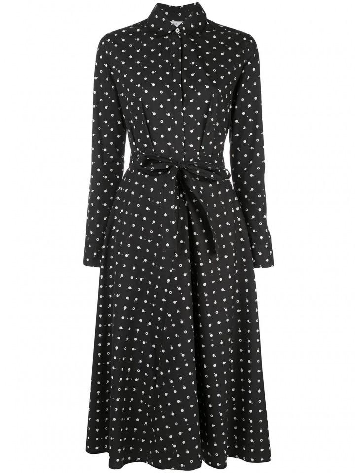 Černé šaty s puntíky Rosetta Getty