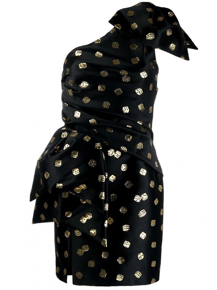 Černé šaty se zlatými akcenty Moschino
