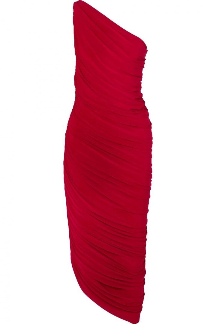 Červené midi šaty na jedno rameno Norma Kamali