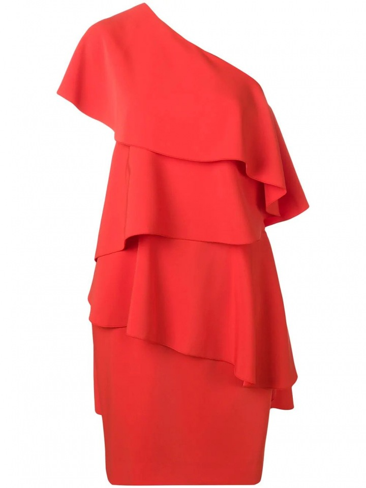 Červené mini šaty s volány na jedno rameno Lanvin