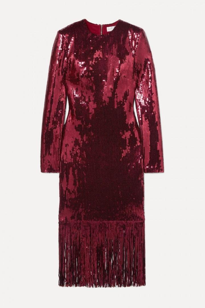Červené midi šaty s flitry Rebecca Vallance