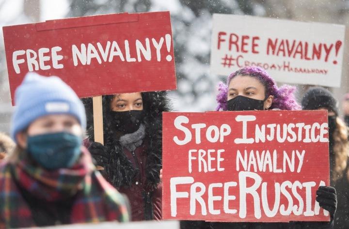 Demonstranti v Rusku.