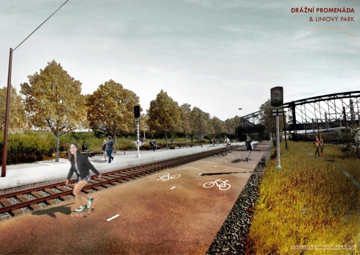 Drážní promenáda a liniový park nabídne dvě cesty