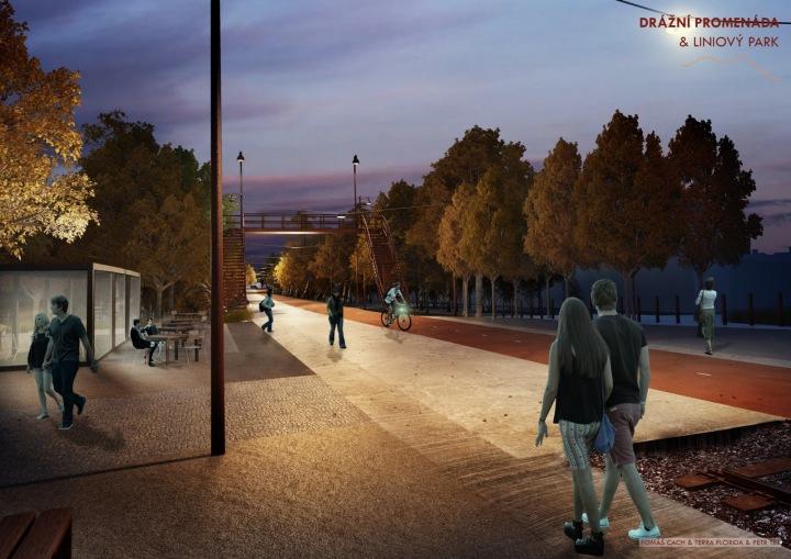 Drážní promenáda a liniový park v noci