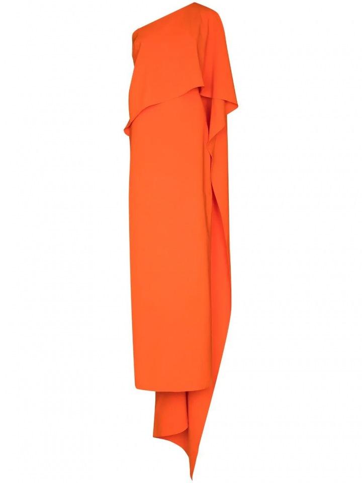 Oranžové šaty na jedno rameno