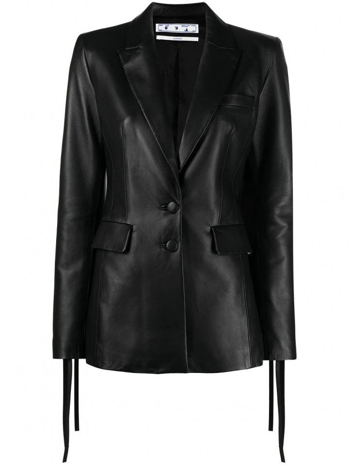 Černé kožené sako