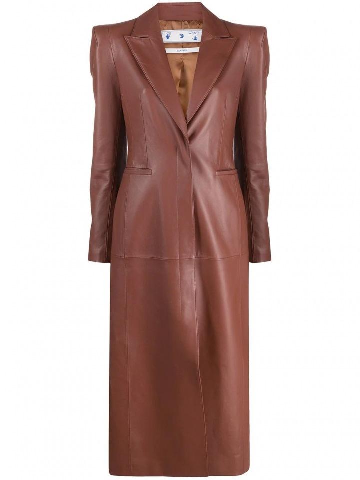 Hnědý kožený kabát