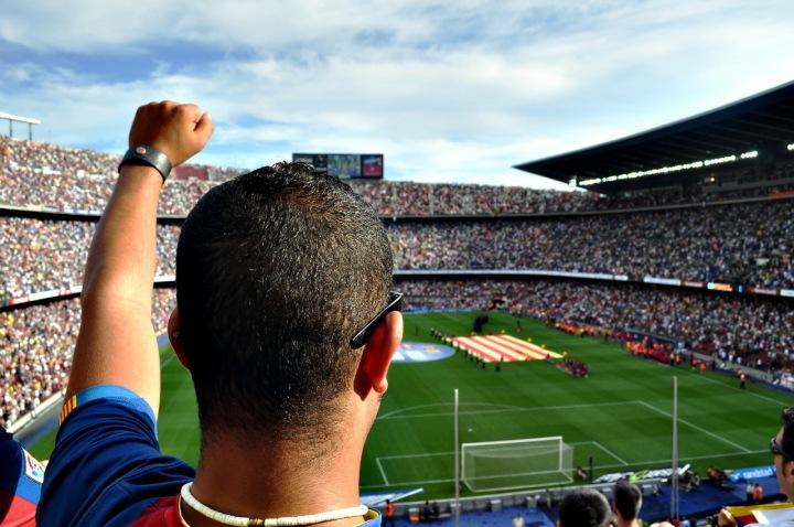 Fotbalový fanoušek na stadionu.