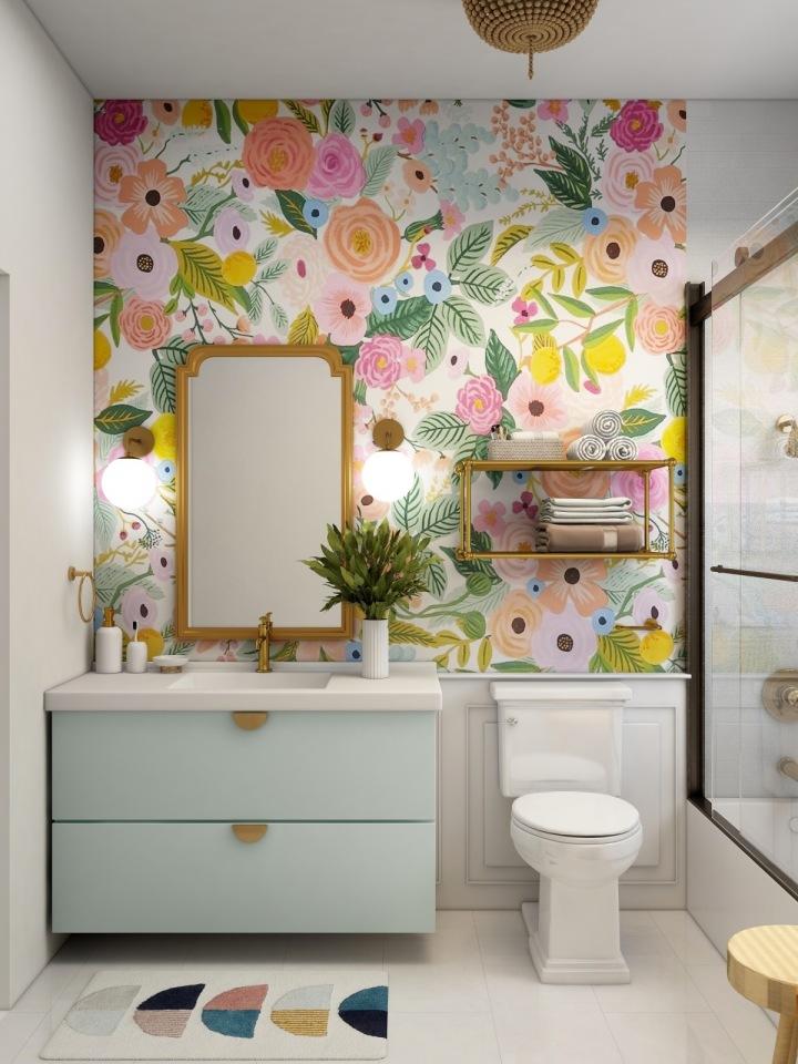 Koupelna s barevnou tapetou