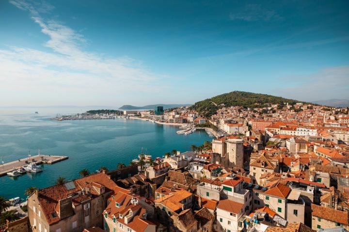 Letecký pohled na chorvatský Split, Dalmácie
