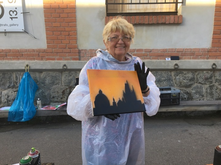 Seventy-three year old pensioner from Prague sprayed Prague.