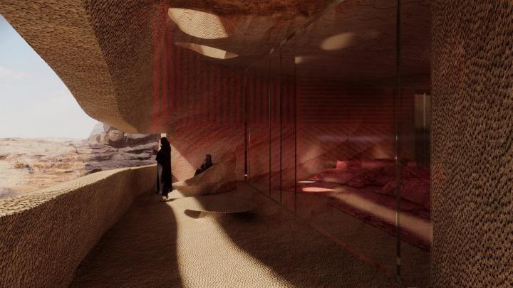 Jeskynní hotel v poušti AlUla