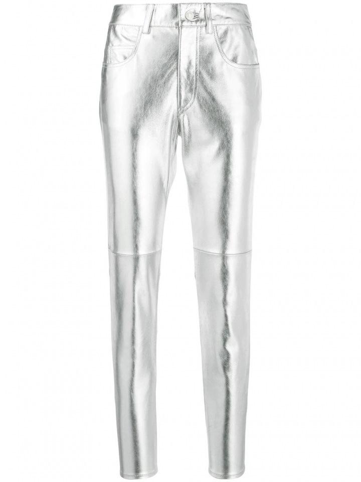Stříbrné metalické kalhoty Isabel Marant
