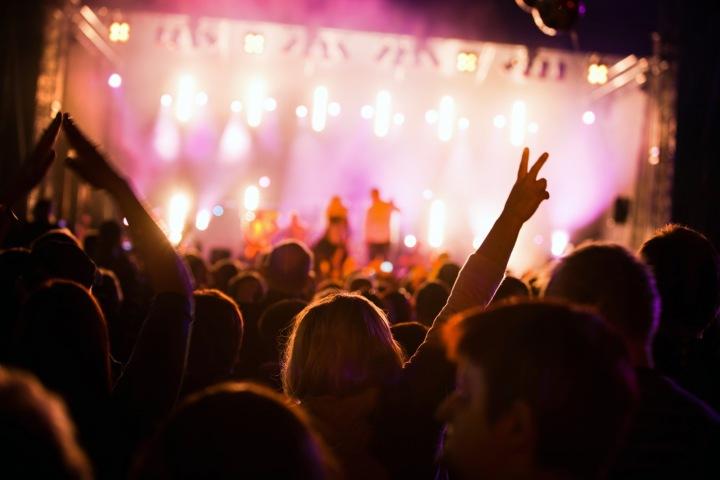 Lidé si užívají na koncertě.
