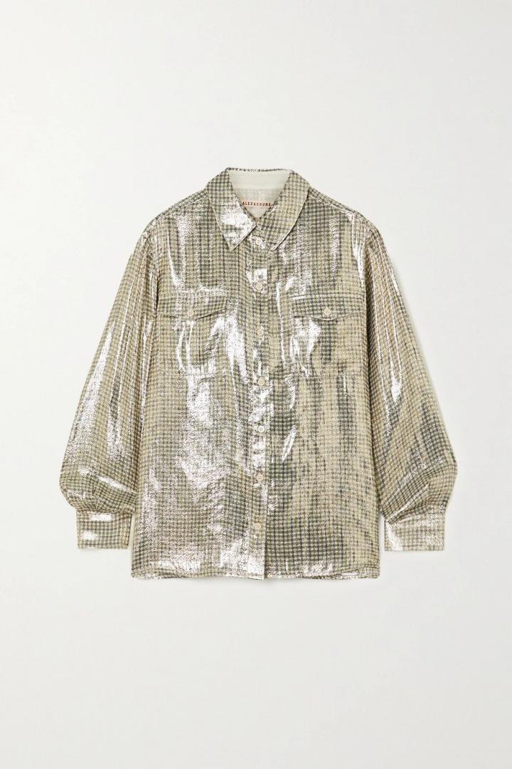 Metalická košile Alexa Chung