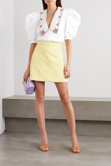 BIlá košile s madeirou Miu Miu