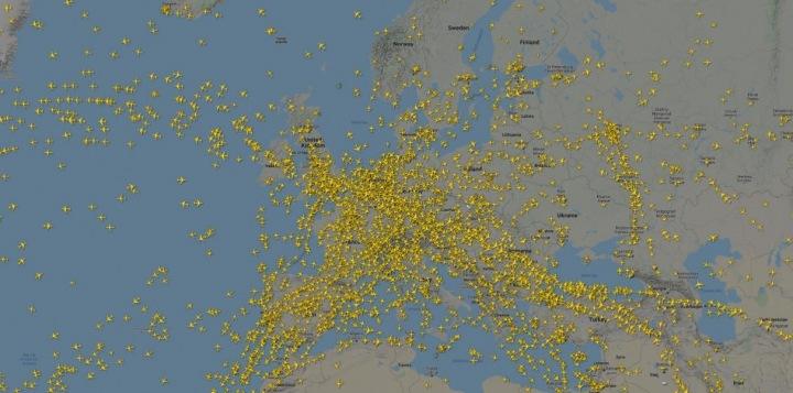 Letecký provoz nad Evropou na začátku března.