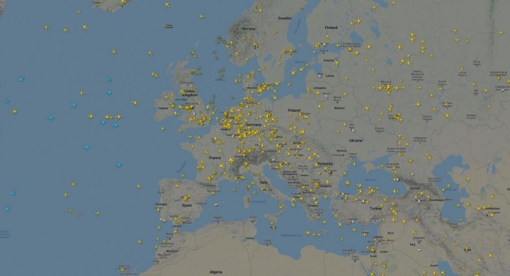 Letecký provoz nad Evropou v dubnu.