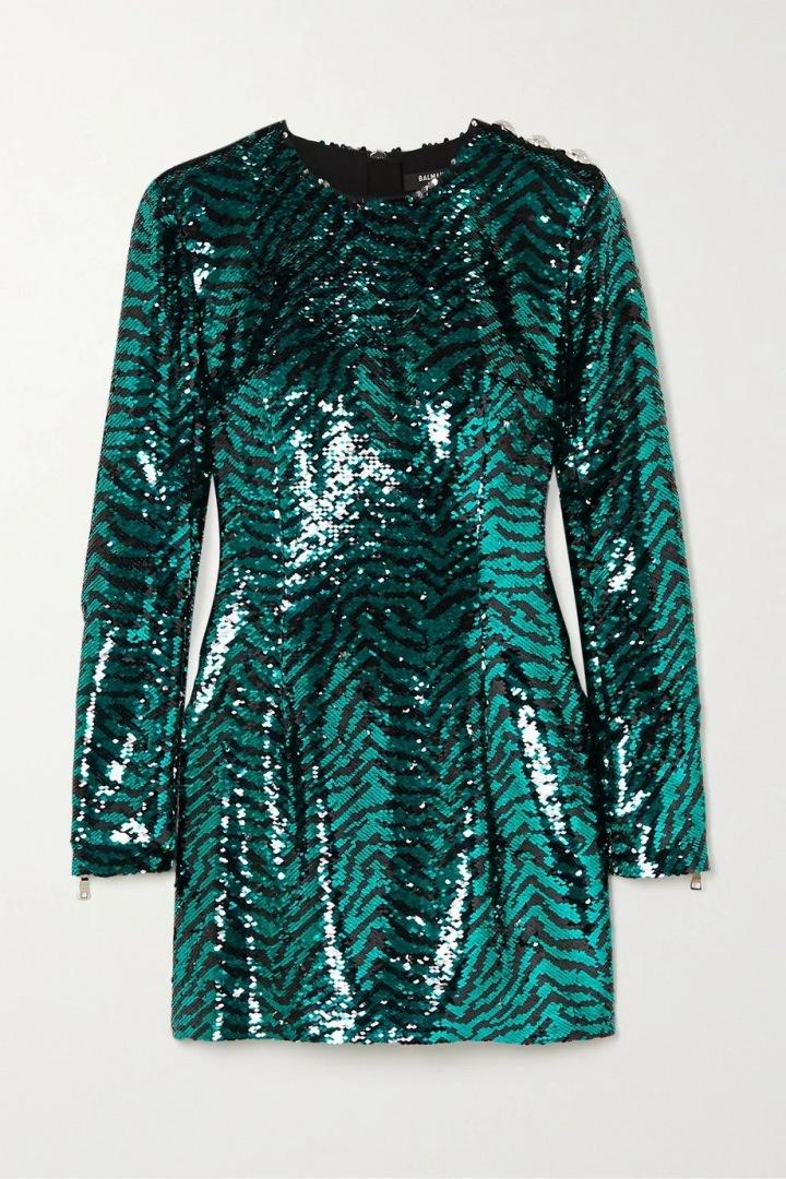 Metalické šaty Balmain