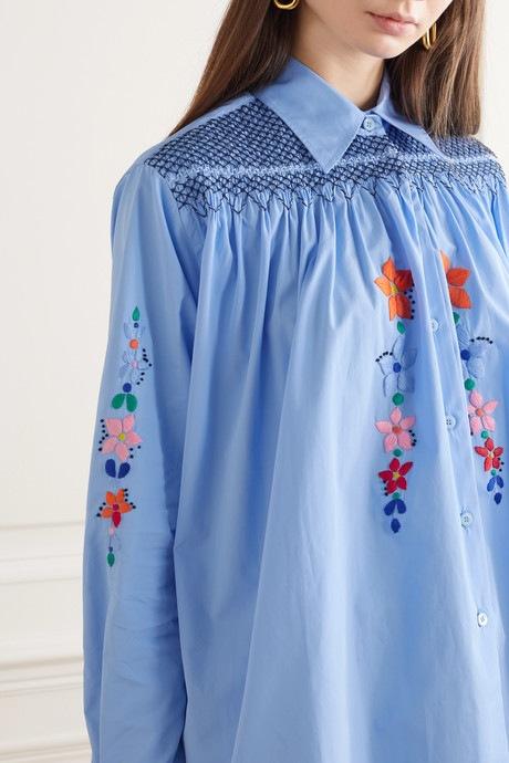 Modrá košile Prada s výšivkou
