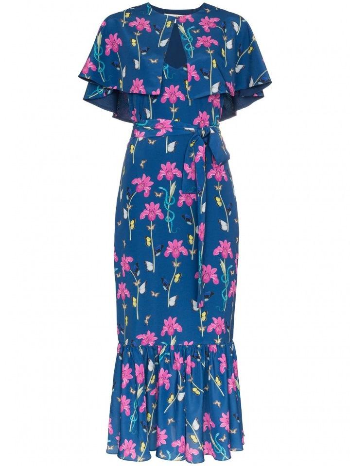 Modré šaty s květinami Borgo De Nor