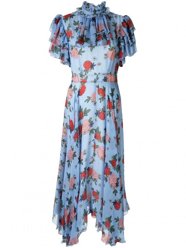 Modré šaty s volány Macgraw