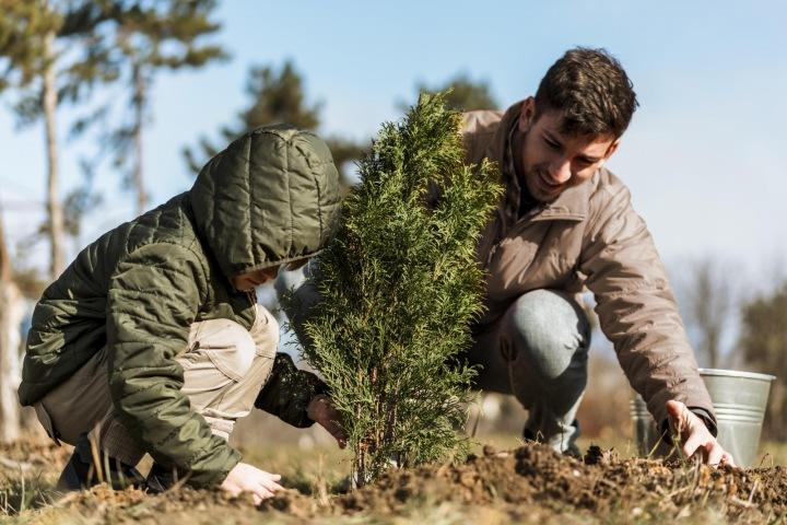 Muž se synem zasazují strom.