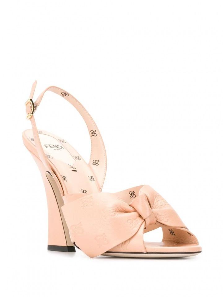 Nude sandálky s mašlí Fendi