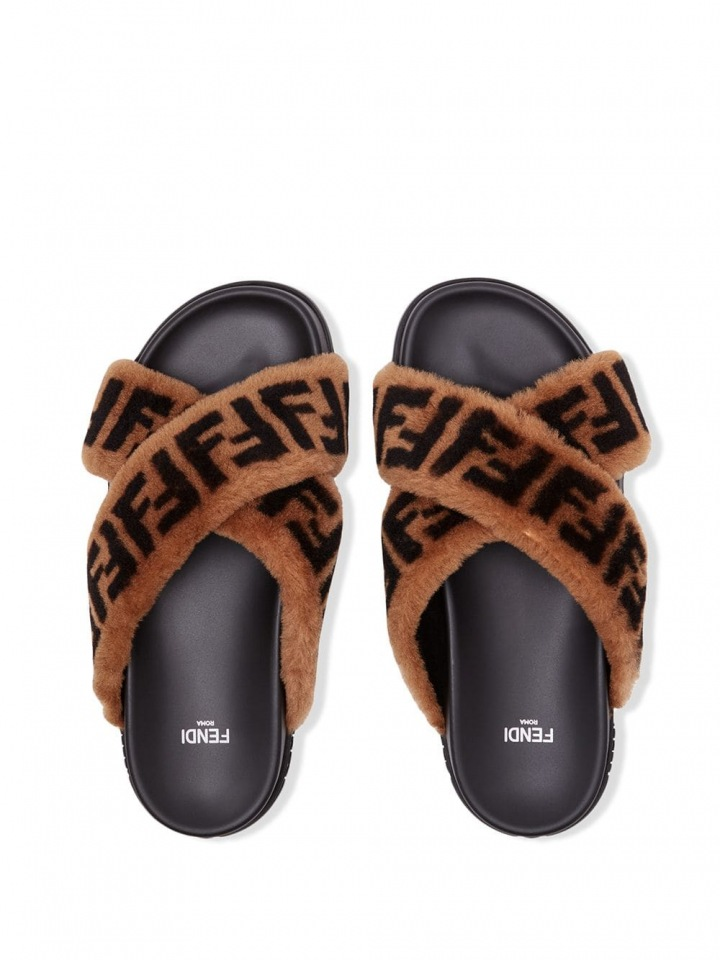 Chlupaté pantofle Fendi