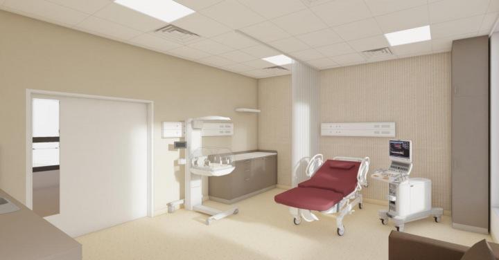 Porodní pokoj s inkubátorem