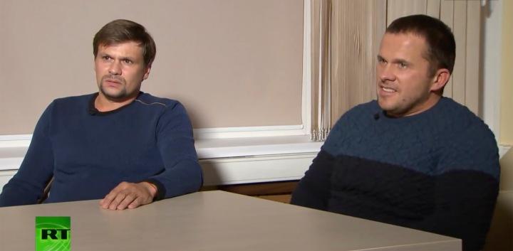 Ruslan Boshirov / Michail Čepiga (vlevo) and Alexander Petrov / Alexander Miškin (vpravo) - podezřelí z výbuchu ve Vrběticích