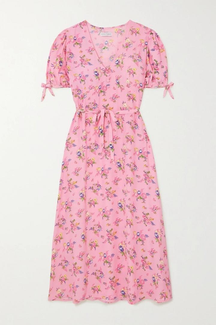 Růžové šaty s květinami Faithfull the Brand