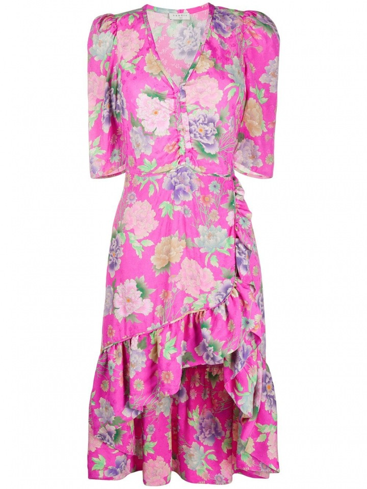 Růžové šaty s květinami Sandro Paris