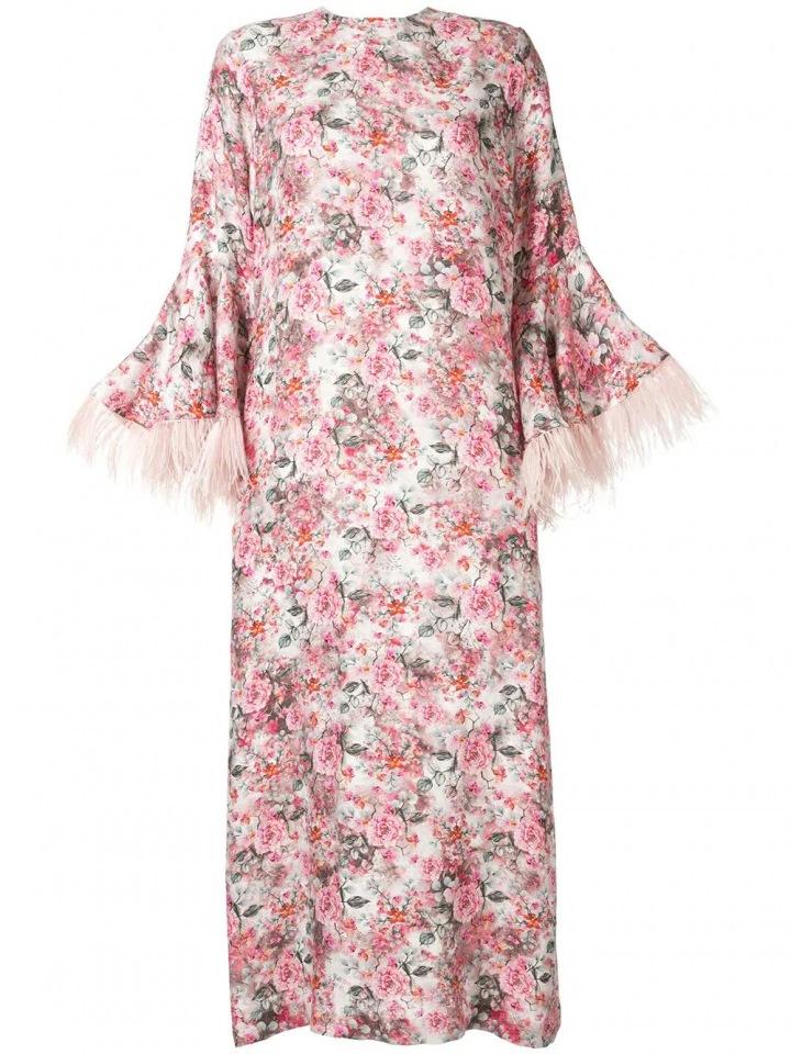 Růžové šaty s peřím Bambah